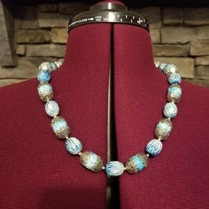 60s Blue Beaded Necklace